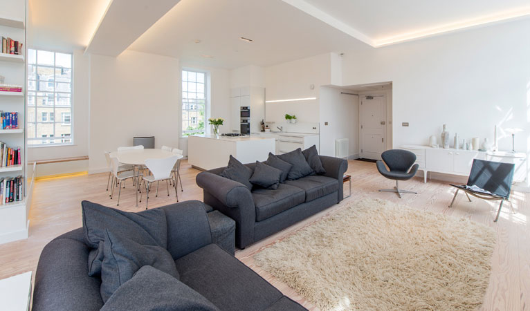 Panoramic view of high specification living space in with high & low level mood lighting in Covent Garden WC2