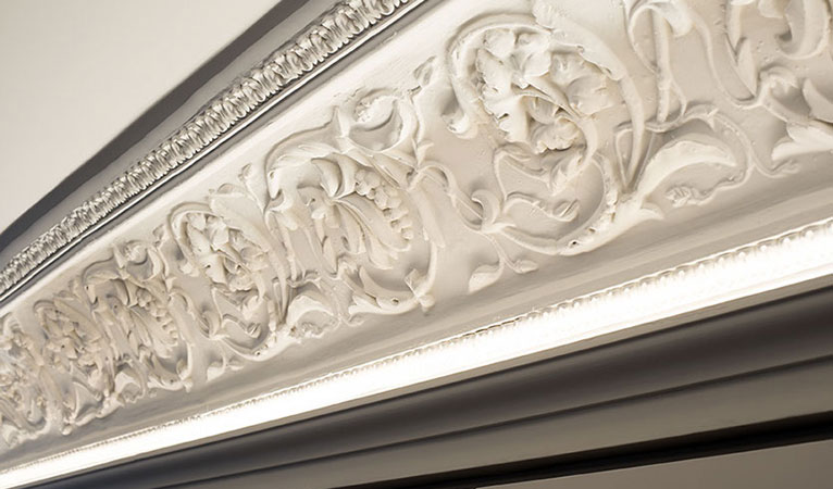 Replicated handmade fibrous plaster mouldings & cornice in Kensington apartment SW7